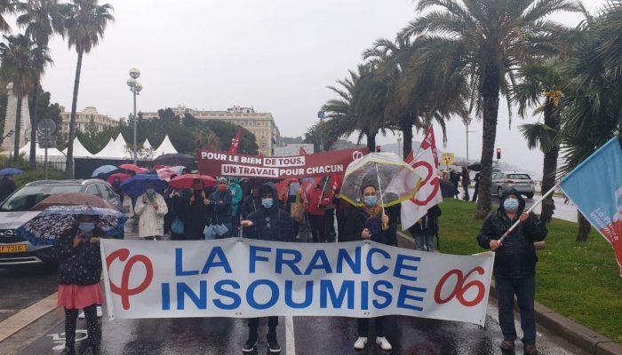 #1erMai à Nice: malgré la pluie à #Nice  Pour les #DroitsDesTravailleurs #OnLacheRien